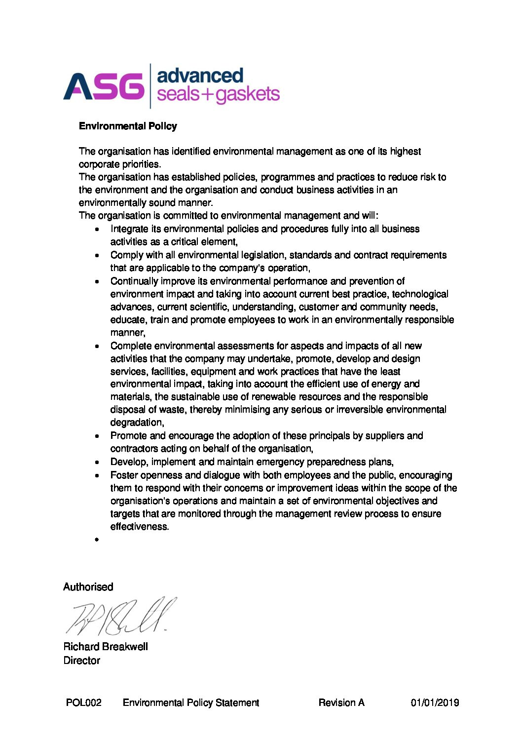 Pol002 Pdf Environmental Policy Advanced Seals And Gaskets